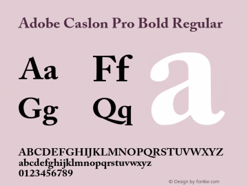 Adobe Caslon Pro Bold Regular Version 2.092;PS 2.000;hotconv 1.0.67;makeotf.lib2.5.33168 Font Sample