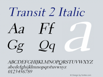 Transit2Italic Altsys Fontographer 4.1 1/10/95 {DfLp-URBC-66E7-7FBL-FXFA}图片样张