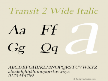 Transit2WideItalic Altsys Fontographer 4.1 1/10/95 {DfLp-URBC-66E7-7FBL-FXFA}图片样张