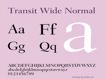 TransitWideNormal Altsys Fontographer 4.1 1/10/95 {DfLp-URBC-66E7-7FBL-FXFA}图片样张