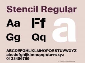 Stencil Regular Version 0.001;PS 001.001;hotconv 1.0.38 {DfLp-URBC-66E7-7FBL-FXFA}图片样张