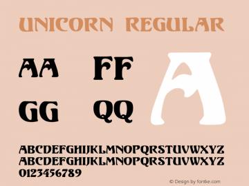 Unicorn Regular Version 1.000;PS 001.001;hotconv 1.0.38 {DfLp-URBC-66E7-7FBL-FXFA} Font Sample
