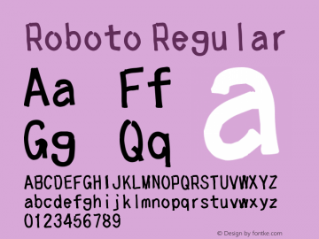 Roboto Regular Version 1.00 August 23, 2015, initial release Font Sample