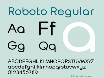 Roboto Version 2.138; 2017 Font Sample