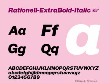 ☞Rationell ExtraBold-Italic Version 1.053;hotconv 1.0.109;makeotfexe 2.5.65596;com.myfonts.easy.peggo.rationell.extra-bold-italic.wfkit2.version.5rpf图片样张