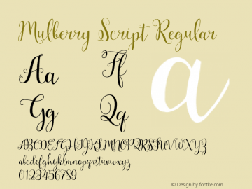 Mulberry Script Version 1.000图片样张