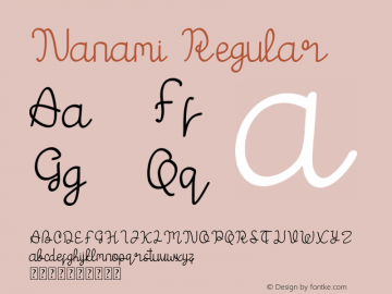 Nanami Version 1.00;May 21, 2019;FontCreator 11.5.0.2422 64-bit图片样张