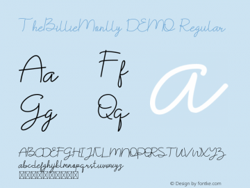 TheBillieMonlly DEMO Version 1.002;Fontself Maker 3.3.0图片样张