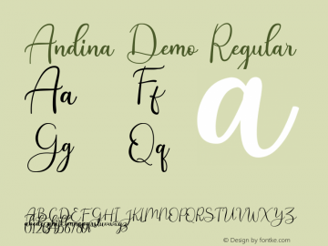 Andina Demo Version 1.00;January 22, 2020;FontCreator 12.0.0.2535 64-bit图片样张