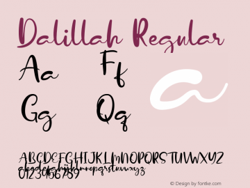 Dalillah Version 1.00;January 22, 2020;FontCreator 12.0.0.2535 64-bit图片样张