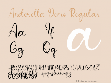 Anderella Demo Version 1.00;January 20, 2020;FontCreator 12.0.0.2535 64-bit图片样张