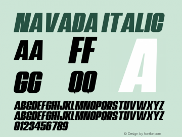 Navada Italic Demo Italic Version 1.00;January 22, 2020;FontCreator 12.0.0.2535 64-bit图片样张