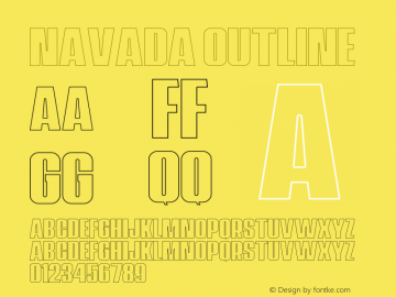 Navada Outline Demo Outline Version 1.00;January 22, 2020;FontCreator 12.0.0.2535 64-bit图片样张