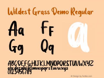 Wildest Grass Demo Version 1.00;January 22, 2020;FontCreator 12.0.0.2535 64-bit图片样张