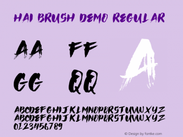 Hai Brush Demo Version 1.00;January 22, 2020;FontCreator 12.0.0.2535 64-bit图片样张