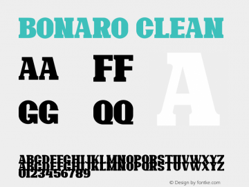 Bonaro Clean Demo Clean Version 1.00;January 22, 2020;FontCreator 12.0.0.2535 64-bit图片样张
