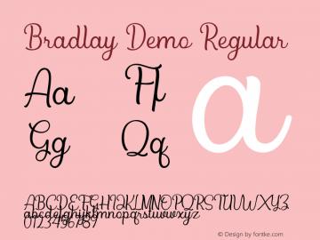 Bradlay Demo Version 1.00;January 22, 2020;FontCreator 12.0.0.2535 64-bit图片样张
