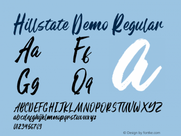 Hillstate Demo Version 1.00;February 9, 2020;FontCreator 12.0.0.2535 64-bit图片样张