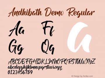 Andhibath Demo Version 1.00;January 22, 2020;FontCreator 12.0.0.2535 64-bit图片样张