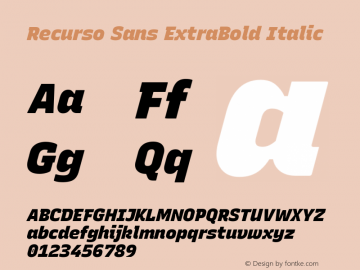 Recurso Sans ExtraBold Italic Version 1.037;February 9, 2020;FontCreator 12.0.0.2550 64-bit; ttfautohint (v1.6)图片样张