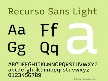 Recurso Sans Light Version 1.037;February 9, 2020;FontCreator 12.0.0.2550 64-bit; ttfautohint (v1.6)图片样张