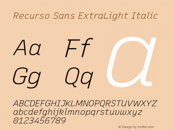Recurso Sans ExtraLight Italic Version 1.037;February 9, 2020;FontCreator 12.0.0.2550 64-bit; ttfautohint (v1.6)图片样张