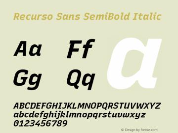 Recurso Sans SemiBold Italic Version 1.037;February 9, 2020;FontCreator 12.0.0.2550 64-bit; ttfautohint (v1.6)图片样张