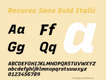 Recurso Sans Bold Italic Version 1.037;February 9, 2020;FontCreator 12.0.0.2550 64-bit; ttfautohint (v1.6)图片样张
