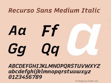 Recurso Sans Medium Italic Version 1.037;February 9, 2020;FontCreator 12.0.0.2550 64-bit; ttfautohint (v1.6)图片样张