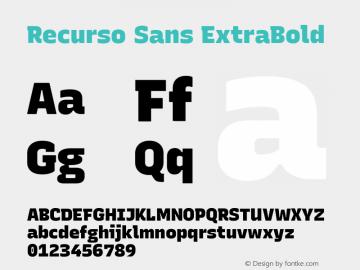 Recurso Sans ExtraBold Version 1.037;February 9, 2020;FontCreator 12.0.0.2550 64-bit; ttfautohint (v1.6)图片样张