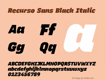 Recurso Sans Black Italic Version 1.037;February 9, 2020;FontCreator 12.0.0.2550 64-bit; ttfautohint (v1.6)图片样张