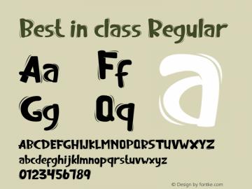 Best in class Version 1.00;February 7, 2020;FontCreator 11.5.0.2427 64-bit图片样张