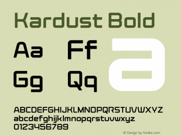 Kardust Bold Version 1.00;October 5, 2019;FontCreator 12.0.0.2535 64-bit图片样张