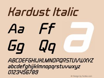 Kardust Condensed Italic Version 1.00;October 5, 2019;FontCreator 12.0.0.2535 64-bit图片样张