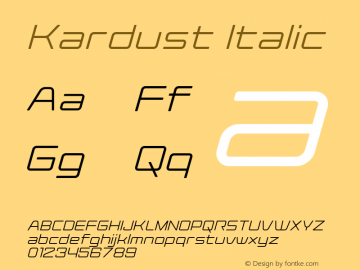 Kardust Expanded Light Italic Version 1.00;October 5, 2019;FontCreator 12.0.0.2535 64-bit图片样张