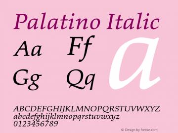 Palatino Italic Version 1.60     03/31/2014图片样张