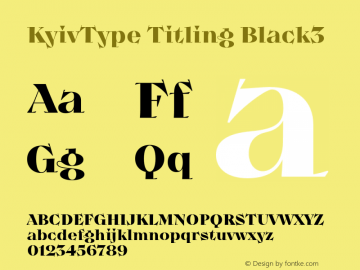 KyivType Titling Black3 Version 1.002;hotconv 1.0.109;makeotfexe 2.5.65596图片样张