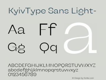 KyivType Sans Light- Version 1.002图片样张