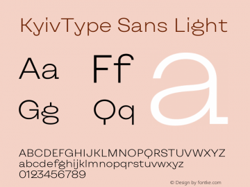 KyivType Sans Light Version 1.002图片样张