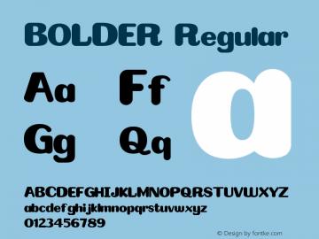 BOLDER Version 1.00;February 10, 2020;FontCreator 11.5.0.2422 64-bit Font Sample