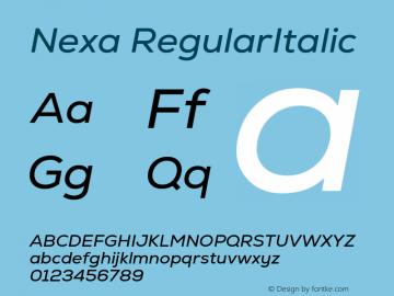 Nexa-RegularItalic Version 2.00图片样张