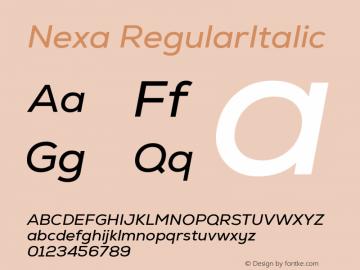 Nexa RegularItalic Version 2.00图片样张