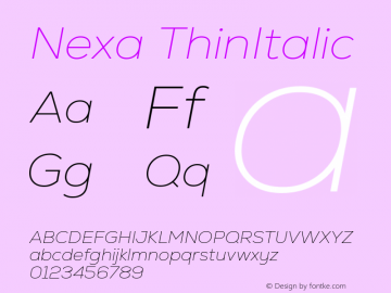Nexa ThinItalic Version 2.00图片样张