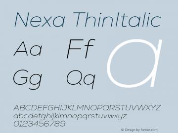 Nexa-ThinItalic Version 2.00图片样张