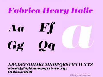 Fabrica-HeavyItalic Version 1.001;hotconv 1.0.109;makeotfexe 2.5.65596图片样张