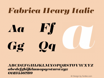 Fabrica Heavy Italic Version 1.001;hotconv 1.0.109;makeotfexe 2.5.65596图片样张