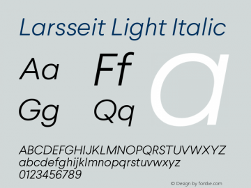 Larsseit-LightItalic 1.000图片样张