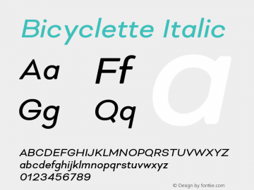 Bicyclette-Italic Version 1.000;PS 001.001;hotconv 1.0.56 Font Sample