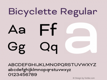 Bicyclette-Regular Version 1.000;PS 001.001;hotconv 1.0.56 Font Sample