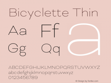 Bicyclette-Thin Version 1.000;PS 001.001;hotconv 1.0.56 Font Sample